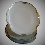 """Set of 4 Haviland & Co. Limoges """"Silver Anniversary"""" Coup-Style B & B Plates, Schleiger #19"""