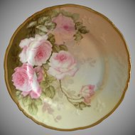 Elite/P & B Limoges Cabinet Plate w/ Pink Tea Roses Transfer Motif