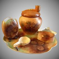 Porcelain Hand Painted 5-Piece Smoking Set w/Pine Cones & Pine Needles Motif