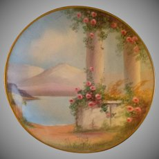 Pickard Studio Hand Painted 'Italian Gardens' Pattern Cabinet Plate - Signed E. Challinor
