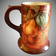 Porcelain Hand Painted Tankard Stein w/Pears & Foliage Motif