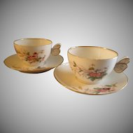 "Set of 2 Porcelain ""Butterfly"" Handle Tea Cups & Saucers w/Wildflowers Motif"