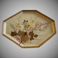 Porcelain Hand Painted Polygon-Shaped Dresser Tray w/Floral & Fauna Motif