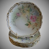 Set of 5 Elite Limoges Hand Painted Salad/Dessert Plates w/Different Floral Motifs