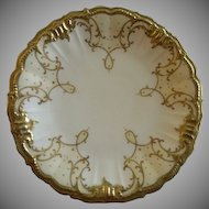 Limoges France Cabinet/Serving Plate w/Gold Encrusted Design - Marshall Field Co. Chicago
