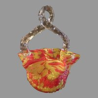 """Czechoslovakia Art Deco """"Spatter Glass"""" Basket with Clear Thorn Handle"""
