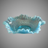 "Jefferson Glass ""Many Loops"" Pattern Blue Opalescent Fluted Bowl"