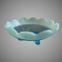 "Jefferson Glass ""Ruffles & Rings w/Daisy Band"" Blue Opalescent Footed Bowl"