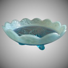 """Jefferson Glass """"Ruffles & Rings w/Daisy Band"""" Blue Opalescent Footed Bowl"""