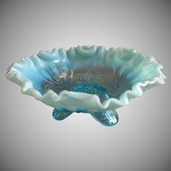 "Jefferson Glass ""Meander"" Pattern Blue Opalescent Footed Fluted Bowl"