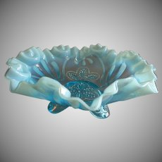 """Jefferson Glass """"Meander"""" Pattern Blue Opalescent Footed Fluted Bowl"""