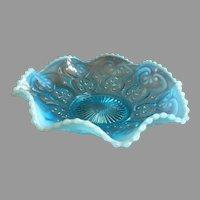 "Northwood Glass ""Cashews"" Pattern Blue Opalescent Scalloped Bowl"