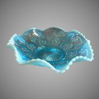 "Northwood Glass ""Cashews"" Pattern Blue Opalescent Scalloped Bowl"