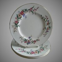 "Set of 4 Wedgwood ""Devon Sprays"" Pattern Dinner Plates"