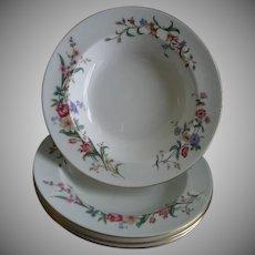 "Set of 4 Wedgwood ""Devon Sprays"" Pattern Rim Soup Bowls"