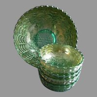 """Imperial Glass Company Green Carnival 5-Pc """"Grape"""" Pattern Berry Set"""