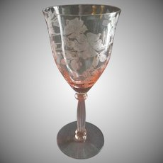 Set of 6 Tiffin Glass Co. Pink Etched 'Wildflower' Goblets Pattern 15032 -1P