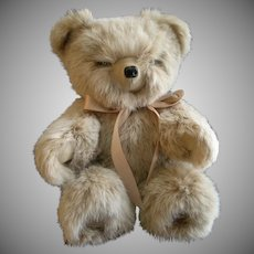 "Vintage Fur Teddy Bear by Helen Duggan ""Palm Beach Bears"" - Snow Top Satin Rabbit"