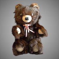 """Vintage Fur Teddy Bear by Barry & Sue Dovaston """"Basu Enterprises"""" - Brown Mink"""