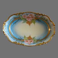 J.H. Stouffer Hand Painted Relish Dish w/Vivid Apple Blossom Floral Motif