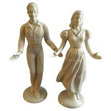 "Roselane Pottery - Pair of ""Square Dancer"" Figurines - California"