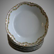 """Set of 6 Haviland & Co. Limoges """"Red Flowers & Green Leaves"""" Pattern Soup Bowls - Ranson w/Gold Blank #1"""