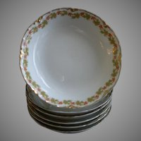 "Set of 6 Haviland & Co. Limoges ""Red Flowers & Green Leaves"" Pattern Fruit/Sauce Bowls - Ranson w/Gold Blank #1"
