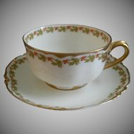 """Set of 4 Haviland & Co. Limoges """"Red Flowers & Green Leaves"""" Pattern Cups & Saucers - Ranson w/Gold Blank #1"""