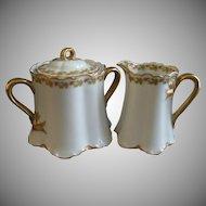 "Haviland & Co. Limoges ""Red Flowers & Green Leaves"" Pattern Sugar Bowl & Creamer Set  - Ranson w/Gold Blank #1"