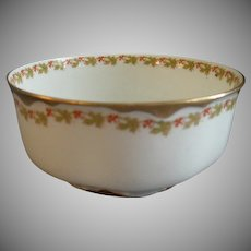 """Haviland & Co. Limoges """"Red Flowers & Green Leaves"""" Pattern Serving/Waste Bowl  - Ranson w/Gold Blank #1"""