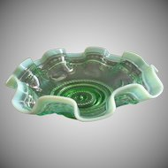 "Jefferson Glass ""Astro"" Pattern Green Opalescent Fluted Bowl"
