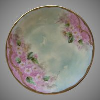 Pickard Studio Hand Painted Cabinet Plate w/Pastel Pink Apple Blossom Motif