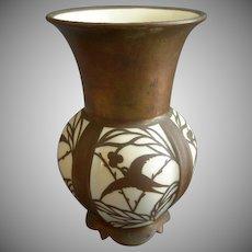 Hertel, Jacob Porcelain Vase w/Copper Over-lay Motif Of Swallows, Leaves & Berries