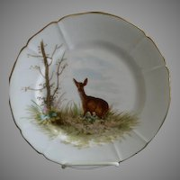 "G. Demartine & Co. Hand Painted ""Deer"" Game Plate - 3 of 4"