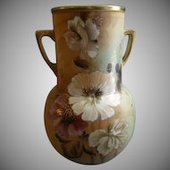 Nippon Hand Painted Vase w/Hibiscus Blossoms & Foliage Motif