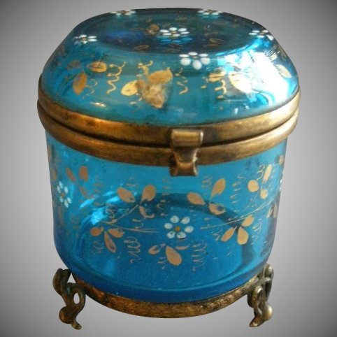 Moser Enameled Blue Glass Covered Vanity Box Jewelry