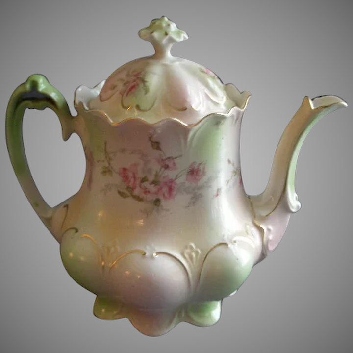 MZ Austria Transfer Decorated Teapot w/Pink Rose Blossom Motif