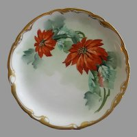 J.H. Stouffer Hand Painted Cabinet Plate w/Poinsettia Floral Motif