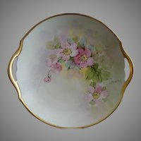 T&V Limoges Hand Painted Serving Plate w/Pink Apple Blossoms Motif