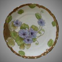 P T Bavaria Cabinet Plate w/Transfer Purple Double Gloxinia Blossoms Motif