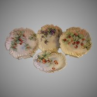 Set of 4 T&V Limoges Hand Painted Cabinets Plates w/Different Fruit Motifs