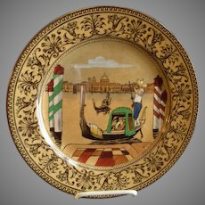 """Royal Doulton Transfer Polychrome """"Canal"""" Series Ware Plate - Pattern D3039"""