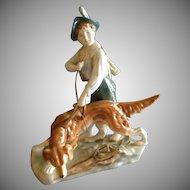 Royal Dux Porcelain Figurine - Young Boy & His Dog