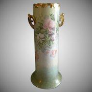 Porcelain Hand Painted Vase - Pastel Colored Sweet Pea Floral Motif - Artist Signed