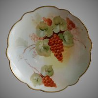 Pickard Studio Hand Painted Cabinet Plate w/Red Currants & Vines Motif