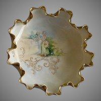 American Willets Belleek Hand Painted Ruffled Bowl w/Garden Courtship Scene