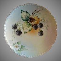 Hand Painted Porcelain Cabinet Plate w/Lush Blackberries & Blossoms Motif