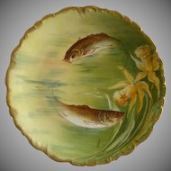 Bawo & Dotter -  Elite Limoges -  Hand Painted Cabinet Plate w/Swimming Fish & Floral Motif