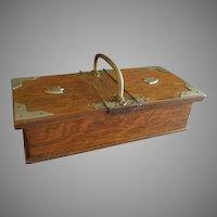 English Oak Cigarette Box w/Two Lined Compartments, Circa 1890-1915