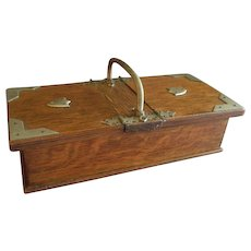 English Oak Cigarette Box w/Two Lined Compartments, Circa 1890-1915